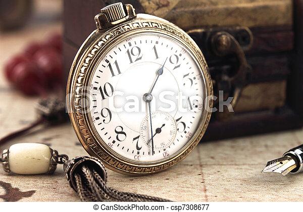 starożytny, ozdoba, zegar, kieszeń, obiekty, retro - csp7308677