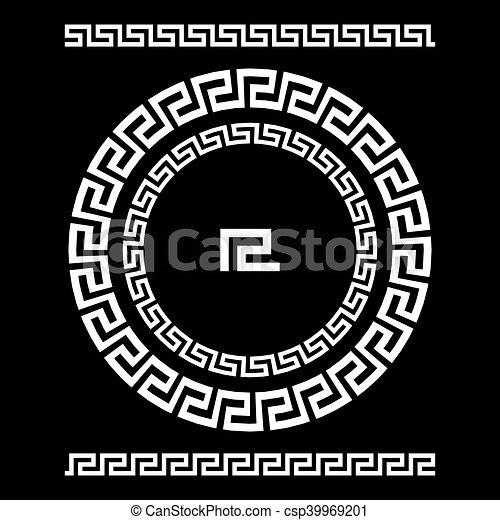 starożytny, starożytny, rozeta, elements., ułożyć, pulse., krajowy, ozdoba, próbka, prostokątny, grek, meander., vector., koło, brzeg, okrągły - csp39969201
