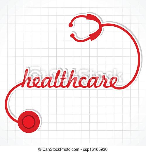 stetoskop, ustalać, słowo, healthcare - csp16185930