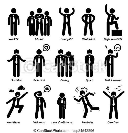 stosunek, biznesmen, osobowości - csp24542896