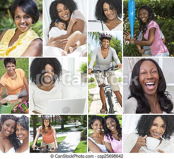styl życia, kobiety, amerykanka, samiczy afrykanin, zdrowy - csp25698642