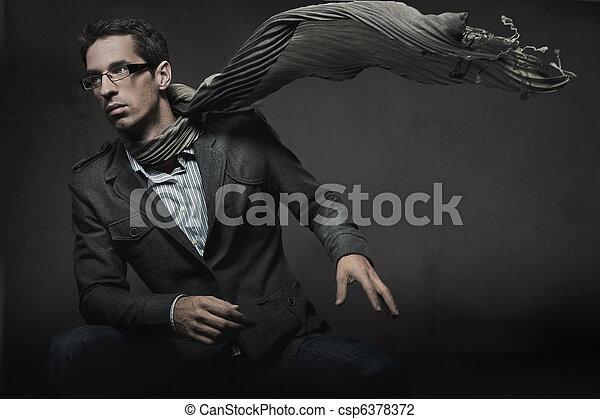 styl, fason, fotografia, elegancki, wspaniały, człowiek - csp6378372