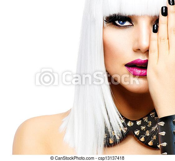 styl, kobieta, fason, piękno, girl., odizolowany, punk, biały - csp13137418