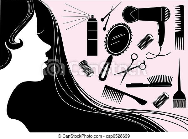 styl, włosy, salon piękna, wektor, element. - csp6528639