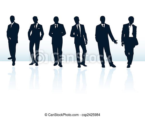 suits., więcej, biznesmen, błękitny, sylwetka, mój, komplet, wektor, ciemny, gallery. - csp2425984