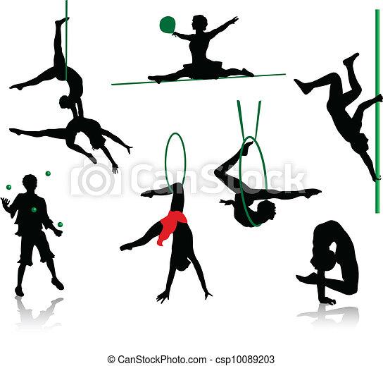 sylwetka, cyrk, performers. - csp10089203