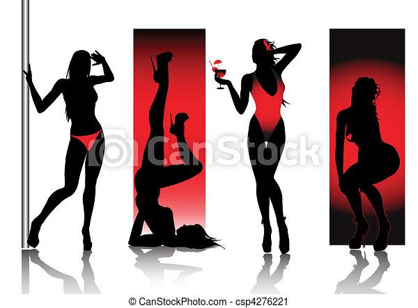 sylwetka, czerwony, sexy - csp4276221