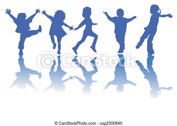 sylwetka, dzieci, szczęśliwy - csp2300840