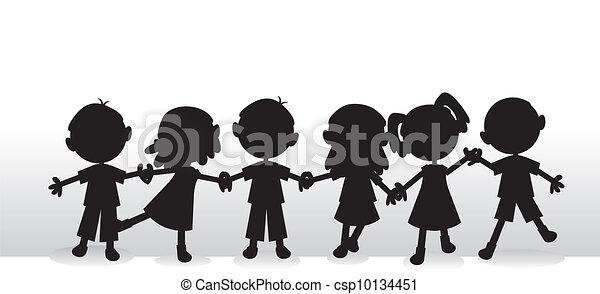 sylwetka, dzieci, tło - csp10134451