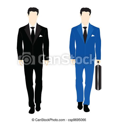 sylwetka, garnitur, handlowy zaludniają - csp9695066