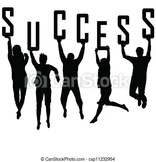 sylwetka, pojęcie, młody, powodzenie, drużyna - csp11232954
