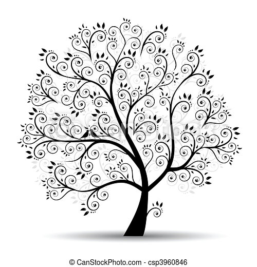 sylwetka, sztuka, drzewo, piękny, czarnoskóry - csp3960846