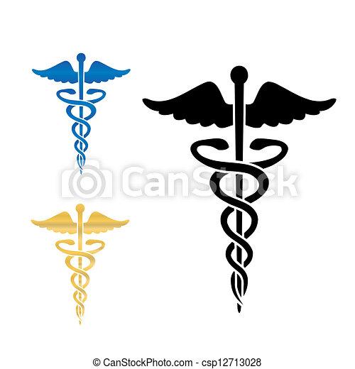symbol, wektor, medyczny, illustration., kaduceusz - csp12713028