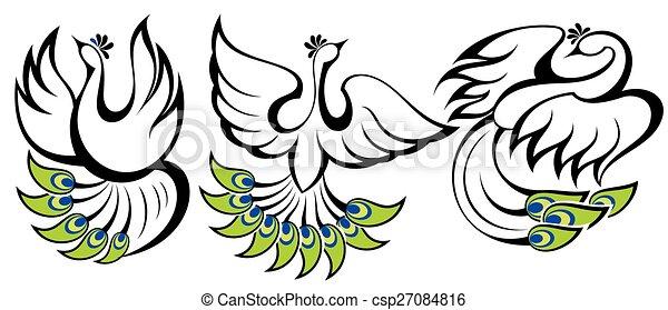 symbolika, peacocks., ptaszki - csp27084816