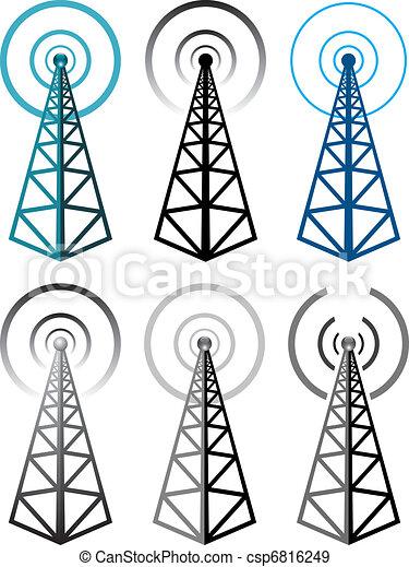 symbolika, wieża, komplet, radio, wektor - csp6816249