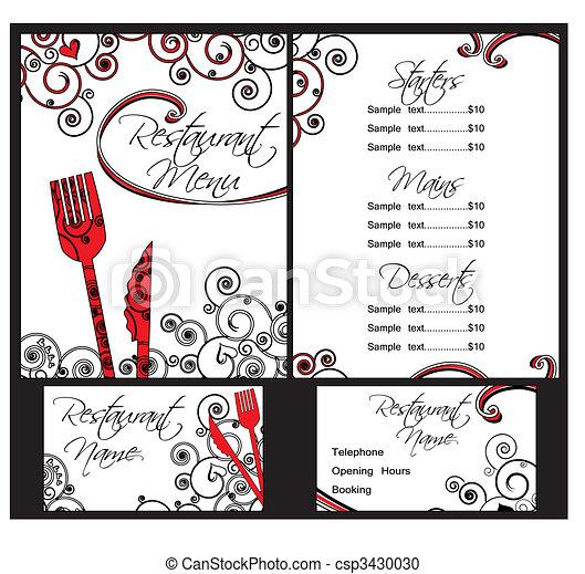 szablony, menu, wektor - csp3430030