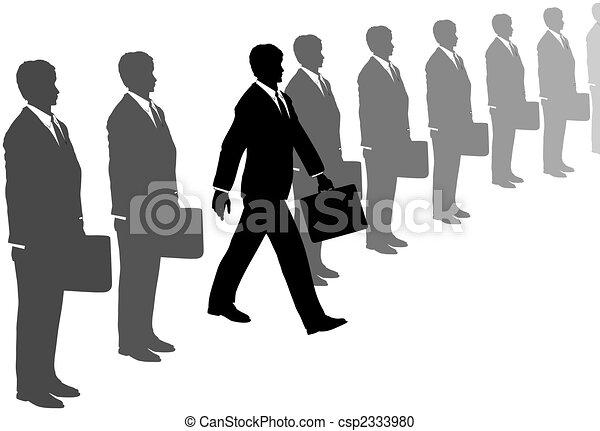 szary, handlowy dostosowuje, inicjatywa, kroki, kreska, poza, człowiek - csp2333980