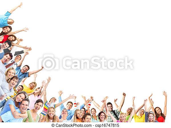 szczęśliwy, grupa, ludzie - csp16747815