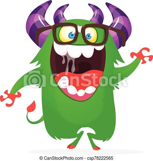 szczęśliwy, rysunek, ilustracja, wektor, monster., zabawny - csp78222565