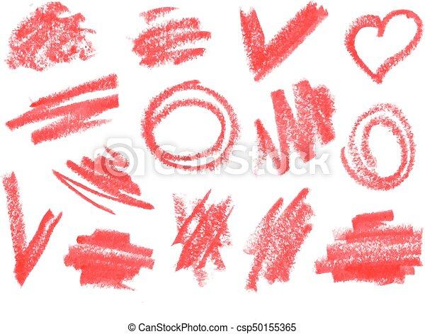 szczotka, kredka, szorstki, suchy, doodles, uderzenia, set., szminka - csp50155365