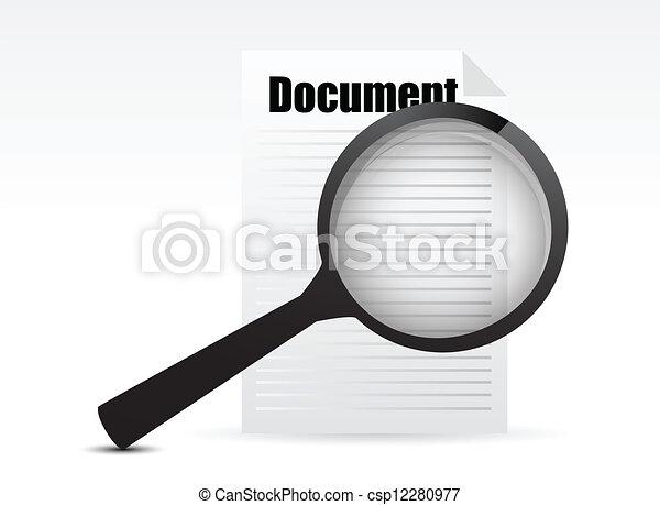 szkło, rewizja, dokument, -, powiększający - csp12280977