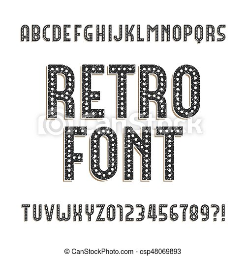 szorstki, alfabet, beletrystyka, retro, numbers., font., zakłopotany - csp48069893