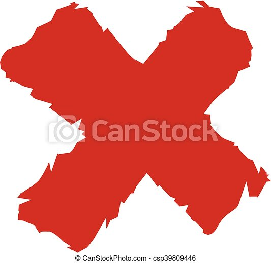 szorstki, wektor, x, ikona, czerwony - csp39809446