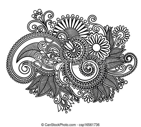 sztuka, ozdobny, projektować, kwiat, kreska - csp16561736