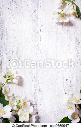 sztuka, wiosna, ułożyć, jaśmin, drewno, tło, stary, kwiaty - csp9659947