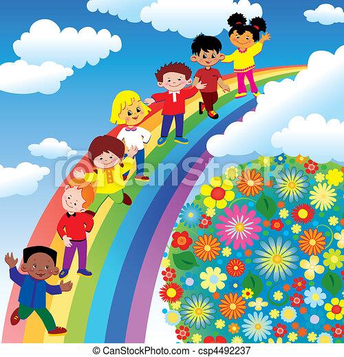 tęcza, slide., dzieci - csp4492237