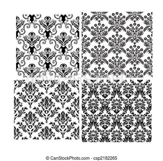 tła, seamless, adamaszek, komplet - csp2182265