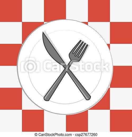 tablecloth, nóż, widelec, płyta - csp27677260