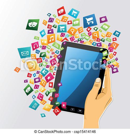 tabliczka, app, icons., ręka, pc, ludzki, cyfrowy - csp15414146