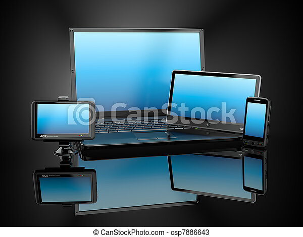 tabliczka, electronics., ruchomy, laptop, pc, telefon, gps - csp7886643