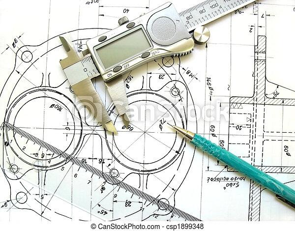 techniczny, linia, cyfrowy, drawing., technika, narzędzia, mechaniczny, suwmiarka, pencil. - csp1899348