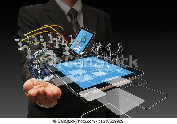 technologia, biznesmeni, ręka - csp10529929