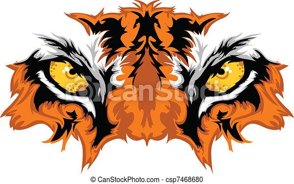 tiger, oczy, maskotka, graficzny - csp7468680