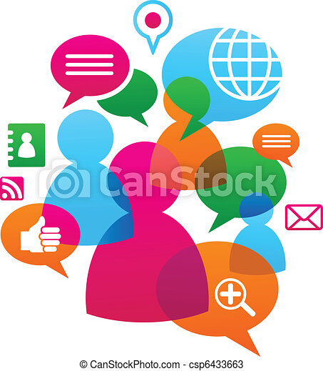 towarzyski, media, backgound, sieć, ikony - csp6433663