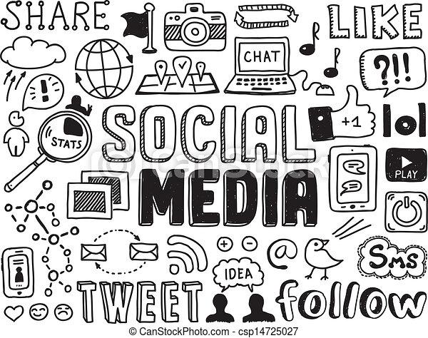 towarzyski, media, elementy, doodles - csp14725027