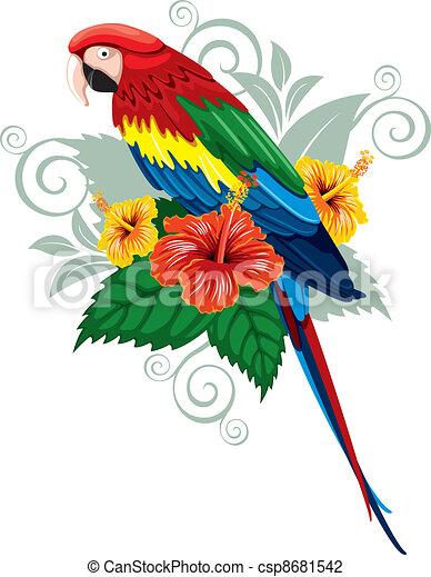 tropikalne kwiecie, papuga - csp8681542