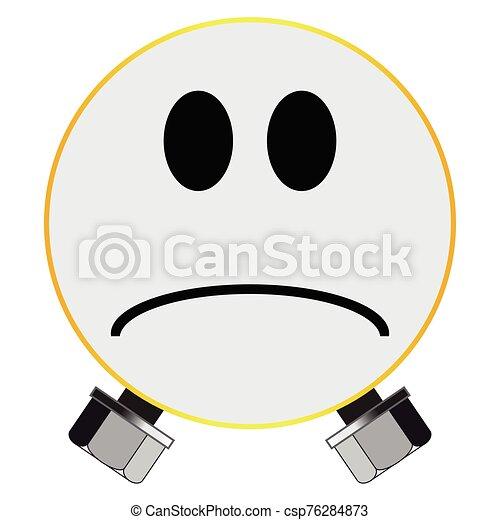 twarz, odizolowany, uśmiech, potwór, guzik - csp76284873
