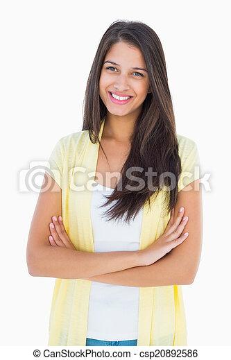 uśmiechanie się, aparat fotograficzny, przypadkowy, kobieta, szczęśliwy - csp20892586