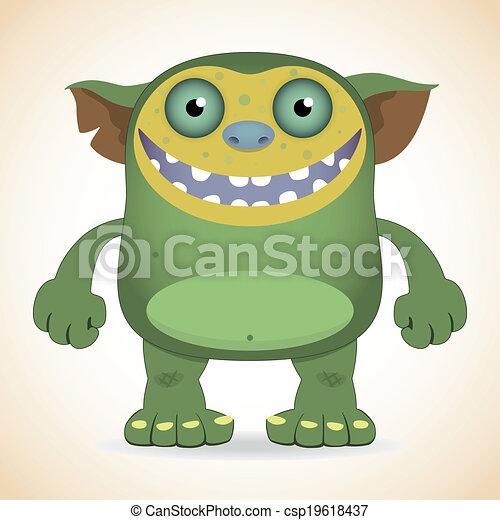 uśmiechanie się, zielony potwór - csp19618437