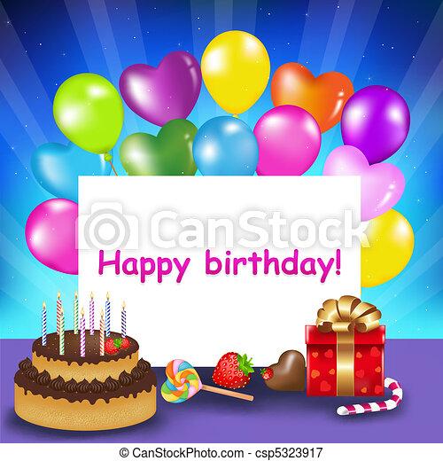 urodzinowa karta, szczęśliwy - csp5323917