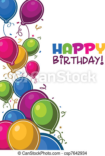 urodziny, balony, szczęśliwy - csp7642934