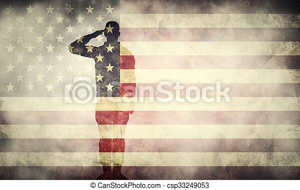 usa, ekspozycja, flag., projektować, patriotyczny, podwójny, grunge, pozdrawianie, żołnierz - csp33249053