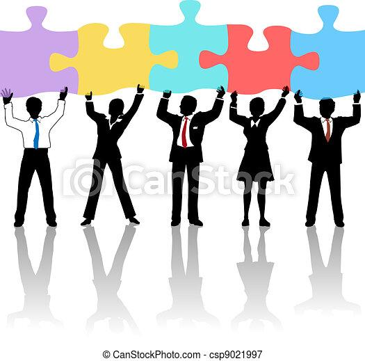 utrzymywać, ludzie handlowe, zagadka, drużyna, rozłączenie - csp9021997