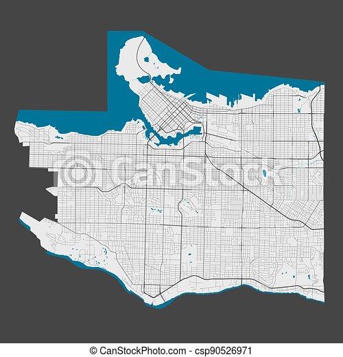 vancouver, szczegółowy, cityscape., mapa, illustration., miasto, wolny, królewskość, wektor - csp90526971