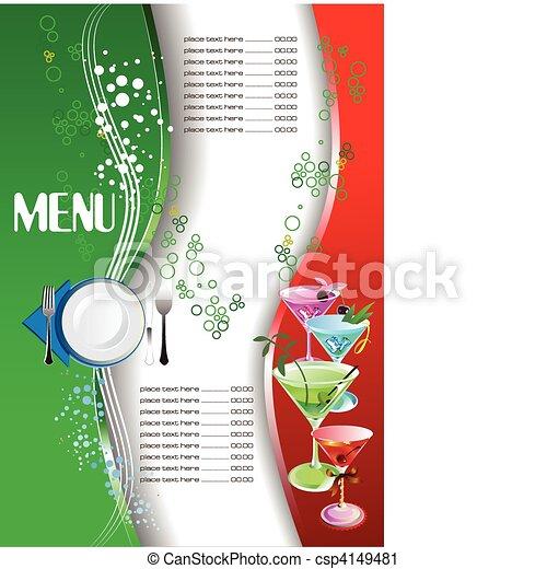 ve, menu., barwny, restauracja, (cafe) - csp4149481
