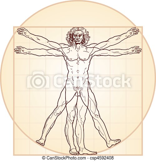 vitruvian, (homo, człowiek, vitruviano) - csp4592408